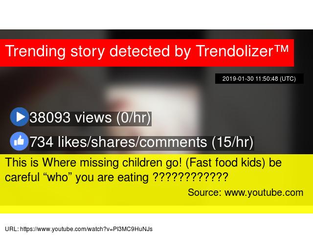 "This is Where missing children go! (Fast food kids) be careful ""who"