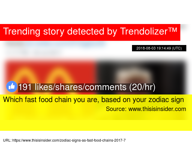 Which fast food chain you are, based on your zodiac sign